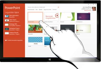 PowerPoint az érintőképernyős eszközökön