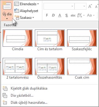 Új diaelrendezések a PowerPointban.