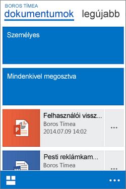 Dokumentumok tár mobilnézete