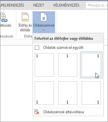 Az Oldalszámok gyűjtemény a Word Online-ban