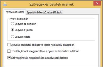 Office 2016 – Szöveggel kapcsolatos szolgáltatások és szövegbeviteli nyelvek a Windows 8-ban