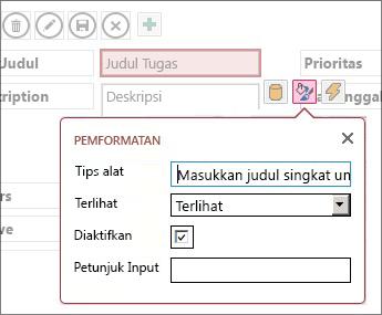 Tampilan dalam mode Edit, memperlihatkan pengaturan Pemformatan untuk kotak teks.