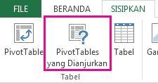 PivotTable yang direkomendasikan pada tab Sisipkan di Excel
