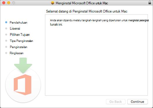 """Layar instalasi pertama Mac 2016 dengan """"Lanjutkan"""" disorot"""