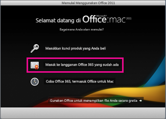 Halaman instalasi beranda Office untuk Mac tempat Anda masuk ke langganan Office 365 yang sudah ada.