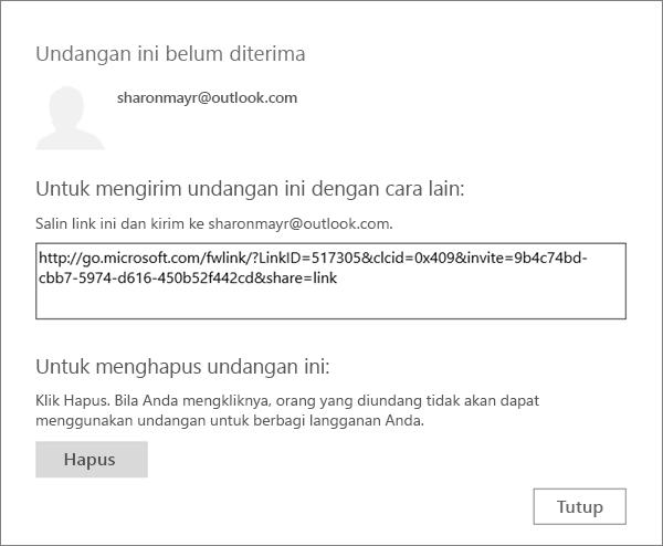 Cuplikan layar kotak dialog untuk undangan yang tertunda dengan link untuk mengirim melalui email dan tombol untuk menghapus undangan.