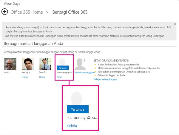 Cuplikan layar halaman Berbagi Office 365 dengan pengguna langganan bersama yang tertunda dipilih.