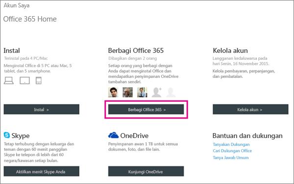 """Cuplikan layar halaman Akun Saya dengan tombol """"Bagikan Office 365"""" dipilih."""
