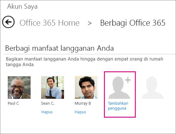 """Cuplikan layar halaman Berbagi Office 365 dengan opsi """"Tambahkan pengguna"""" dipilih."""