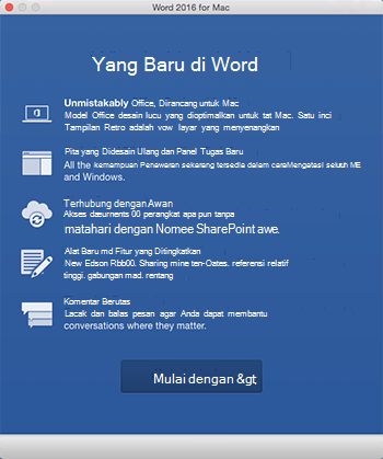 Layar Apa yang Baru ketika Anda pertama kali memulai aplikasi Office yang baru saja Anda instal