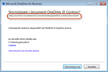 Procedura guidata di OneDrive for Business con URL precompilato