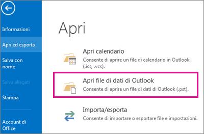 Comando Apri file di dati di Outlook