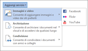 Aggiunta di un servizio, ad esempio Flickr o Facebook per Office