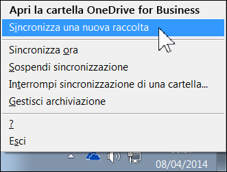Menu di OneDrive for Business nell'area di notifica di Windows