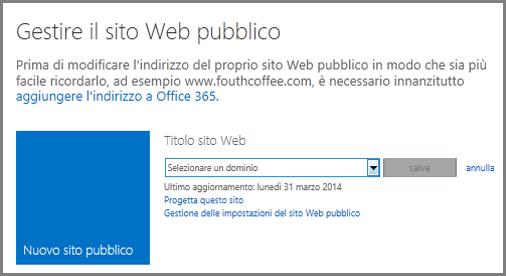 Finestra di dialogo Gestione del sito Web pubblico, con l'opzione per la selezione di un dominio.