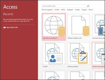 Schermata iniziale di Access, in cui sono visualizzati la casella di ricerca del modello e i pulsanti App Web personalizzata e Database desktop vuoto.