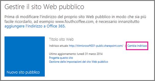Gestione del sito Web pubblico, con l'opzione per la modifica dell'indirizzo.