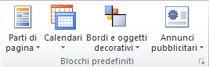 Gruppo Blocchi predefiniti in Publisher 2010