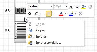 Fare clic con il pulsante destro del mouse per incollare una forma copiata in corrispondenza del punto in cui si è fatto clic