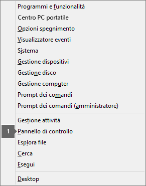 Elenco di opzioni e comandi visualizzati dopo aver premuto il tasto logo Windows + X