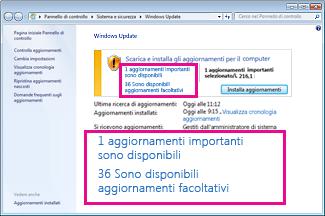 Collegamenti nel riquadro Windows Update