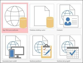 Visualizzazione dei modelli nella schermata iniziale in Access