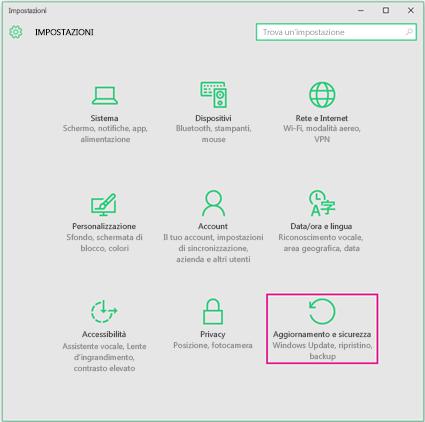 Impostare gli aggiornamenti di Windows in Windows 10