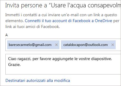 Digitare un indirizzo e un messaggio per inviare un collegamento tramite posta elettronica