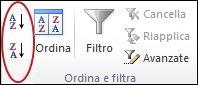 Pulsanti di ordinamento nel gruppo Ordina e filtra della scheda Dati in Excel