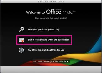 既存の Office 365 サブスクリプションにサインインした Office for Mac Home インストール ページ。