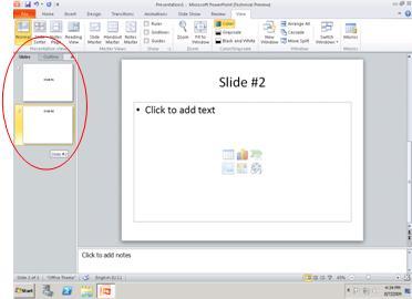 개요 및 슬라이드 탭이 있는 창