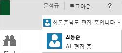 Excel Online의 여러 작성자