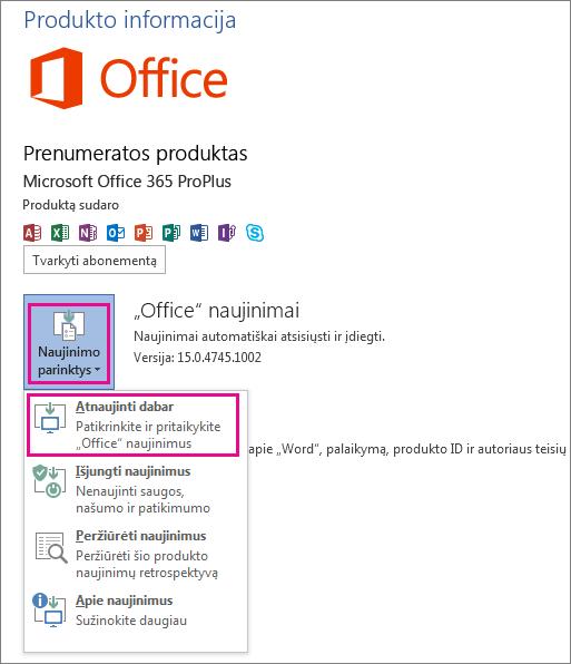 """Neautomatinė """"Office"""" naujinimų paieška programoje """"Word 2013"""""""