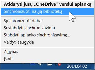 """""""OneDrive"""" verslui meniu """"Windows"""" informacinių pranešimų srityje"""