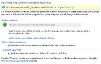 """Windows 8"" ""Windows Update"" parametrai valdymo skyde"