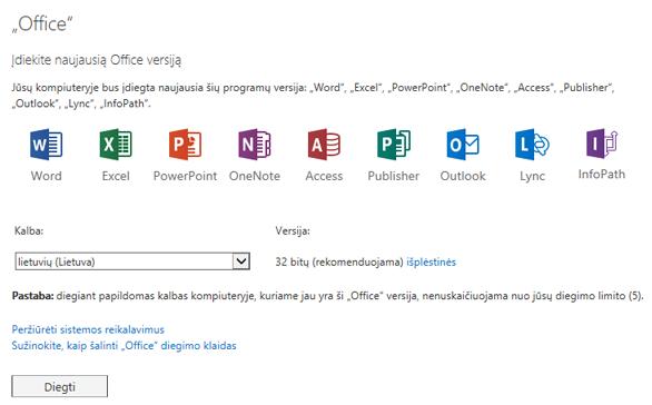 """Įdiekite naujausią """"Office"""" puslapio versiją"""