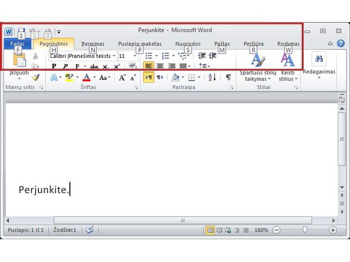 """Skirtukas Pagrindinis programoje """"Word 2010"""" su klavišų patarimais"""