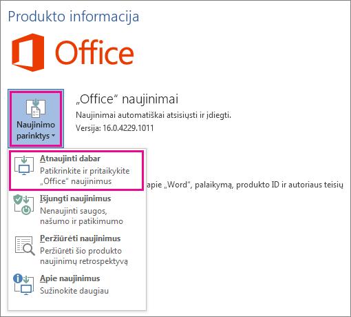 """Neautomatinė """"Office"""" naujinimų paieška programoje """"Word 2016"""""""