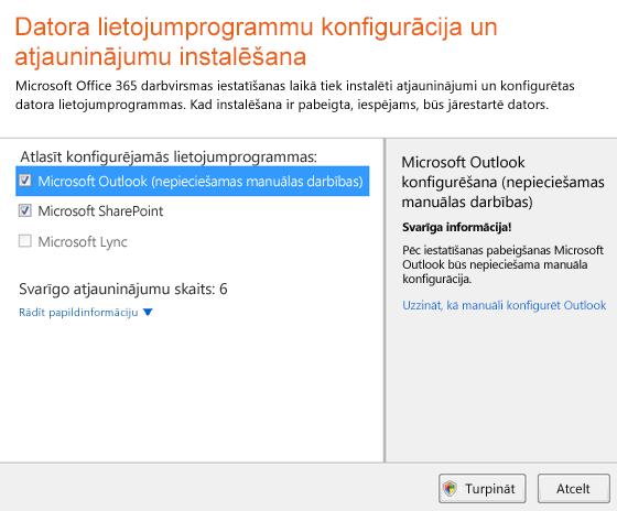 Datora programmu konfigurēšana un atjauninājumu instalēšana