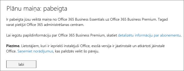 Produktu un pakalpojumu saraksts Office 365 reģistrēšanās lapā.