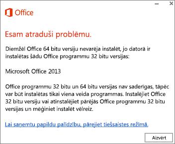 Can't install 32-bit Office over 64-bit Office error message