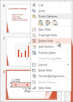Klik kanan imej kecil slaid dalam PowerPoint dan klik Padamkan Slaid.