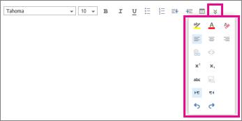 Bar alat pemformatan mesej menunjukkan opsyen lanjutan.