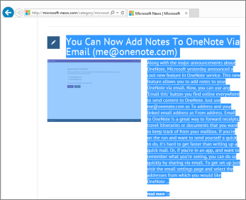 Petikan skrin menunjukkan sebahagian daripada halaman web dipilih untuk disalin.