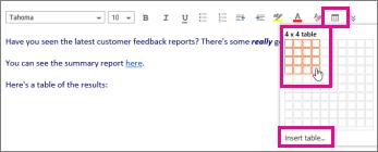Petikan skrin menunjukkan alat selitkan jadual.