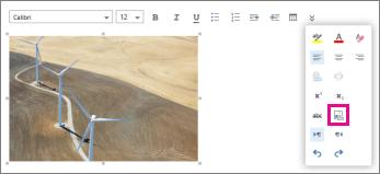 Bar alat pemformatan menunjukkan ikon tambah teks alt.