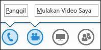 Petikan skrin butang audio dan kamera