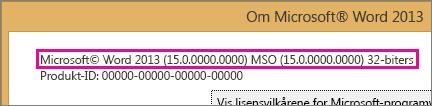Office-versjonsnummer