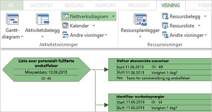 Aktivitetsvisninger-gruppen på båndet og en del av et eksempel på et nettverksdiagram