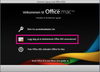 Installasjonssiden i Office for Mac der du logger på et eksisterende Office 365-abonnementet.